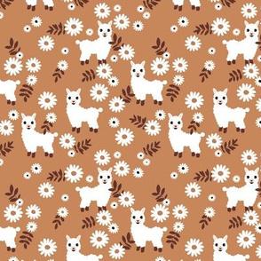 Cute boho alpaca garden and daisy flowers sweet nursery spring summer llama pattern girls neutral brown caramel copper white