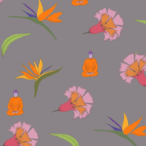floral freefall buddha mauve