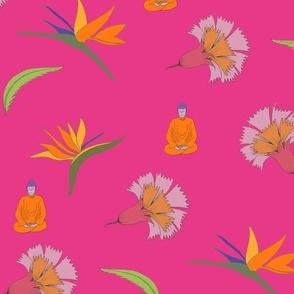 floral freefall buddha pink