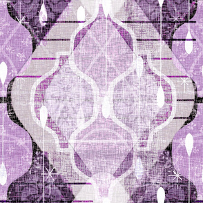 Distressed Atomic Ogee -- Jumbo Modern Farmhouse Home Decor Accent  Ogees in Monochrome Purple Lilac -- Large Scale