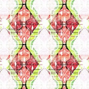 That Vintage Kitsch Kitchen Wallpaper -- Mini Atomic Ogees in Green, Red, and Orange  Colors -- Small Scale Retro 50s Wallpaper