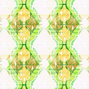 That Vintage Kitsch Kitchen Wallpaper -- Mini Atomic Ogees in Citrus Lime Colors -- Small Scale Retro 50s Wallpaper