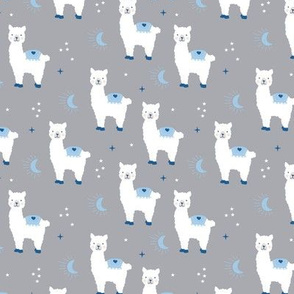 Little Llama dreams moon and stars boho night sweet dreams nursery kids pattern white gray blue boys
