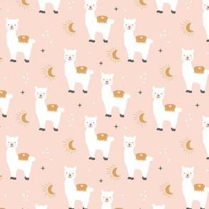 Little Llama dreams moon and stars boho night sweet dreams nursery kids pattern soft pale pink blush ochre yellow white