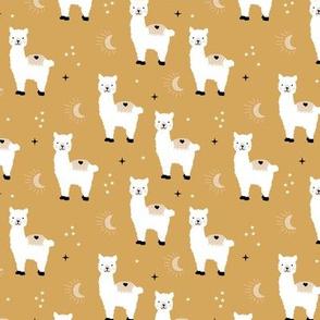 Little Llama dreams moon and stars boho night sweet dreams nursery kids pattern soft ochre mustard yellow white