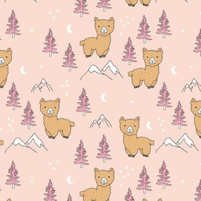 Little Llama mountains and pine trees forest moon and stars kids pattern ochre pale blush ochre