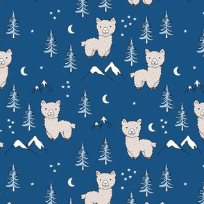 Little Llama mountains and pine trees forest moon and stars kids pattern navy blue snow white