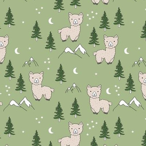 Little Llama mountains and pine trees forest moon and stars kids pattern green neutral