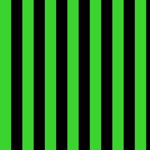 Lime Green Awning Stripe Pattern Vertical in Black