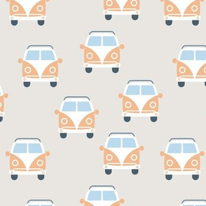 Cute vintage vw hippie bus happy camper car kids pattern neutral beige burnt sienna
