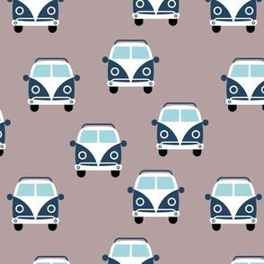 Cute vintage vw hippie bus happy camper car kids pattern neutral cool gray navy blue