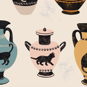 Ancient Greek Cat Pottery on Beige -Large