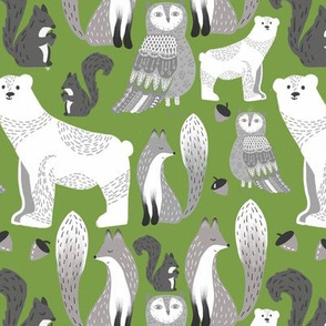 Woodland critters green