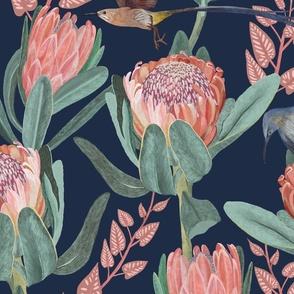 Protea and sugarbird - large