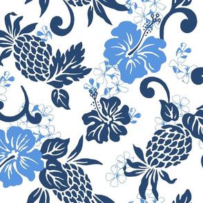 large Pineapple Hibiscus Tropical - indigo sky blue white