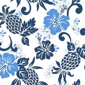 small Pineapple Hibiscus Tropical - indigo blue white
