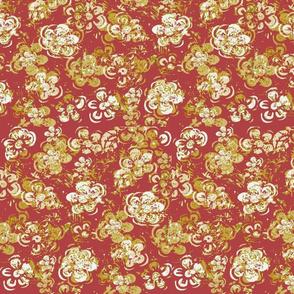 Block Print Spring Mid Century Vintage Textured White Flowers On Red