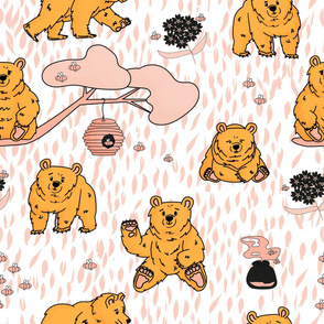 White, pink, yellow bear pattern with bees and flowers