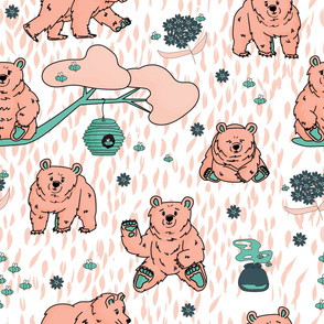 White, pink, blue bear pattern with bees and flower