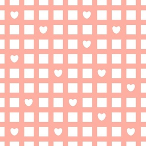 Simple squared abstract Seamless repeat pattern, pink and white colors with hearts