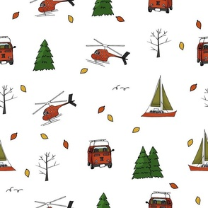 red or orange, green helicopter, yacht, travel bus, trees, Christmas trees, leaves