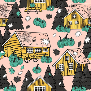 Pink yellow Wooden houses with grass on the roof