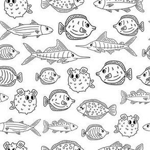 Set of outline cartoon fish, tang, flounder, tuna, ocean burrfish, sea marlin