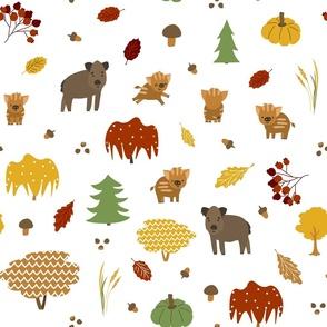 Bright boar family seamless pattern