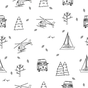 helicopter, yacht, travel bus, trees, Christmas trees, leaves on white background