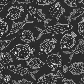 Ocean fish life. Chalk blackboard chalkboard effect
