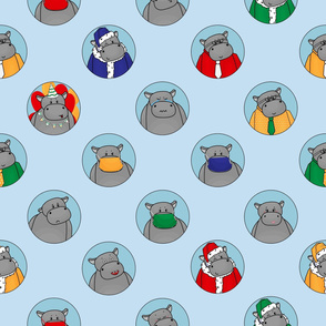 Hippo in mask, Santa hat, Birthday situation, happy and sad