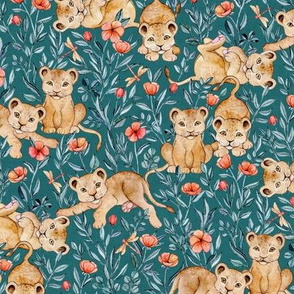 Lion Cub Pairs and Poppies on Deep Teal - Medium
