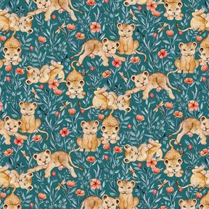 Lion Cub Pairs and Poppies on Deep Teal - Small