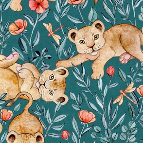Lion Cub Pairs and Poppies on Deep Teal - Large