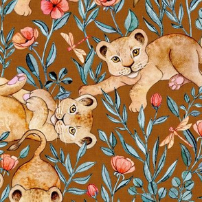 Lion Cub Pairs and Poppies on Warm Brown - Large