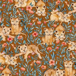 Lion Cub Pairs and Poppies on Warm Brown - Medium