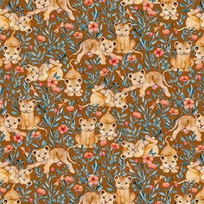 Lion Cub Pairs and Poppies on Warm Brown - Small