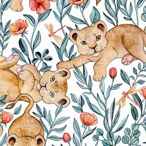 Lion Cub Pairs and Poppies on White - Large
