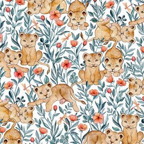 Lion Cub Pairs and Poppies on White - Medium