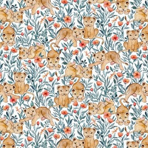 Lion Cub Pairs and Poppies on White - Small