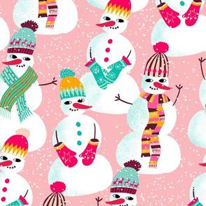 snowman woolen fashion // rose // medium scale