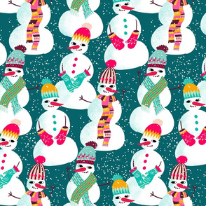 snowman woolen fashion // teal // medium scale