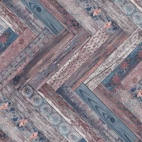 Vintage Wood Chevron Tiles Herringbone Mauve Denim Horizontal