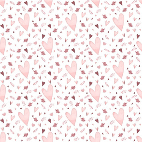 Mauve Glitter_Watercolor Hearts Pattern