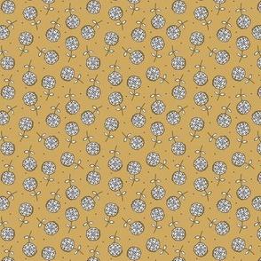 Little dandelion hearts spring blossom boho nursery design neutral mustard ochre yellow SMALL