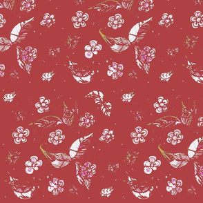 Ornamental Garden Vintage  Block Print - Poppy Red
