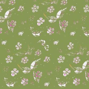 Onamental Garden Block Print - Khaki Green