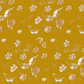 Ornamental Garden Vintage Block Print - Golden Orange