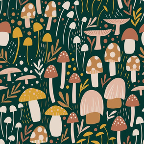 Woodland Mushroom Meadow - green - larger scale