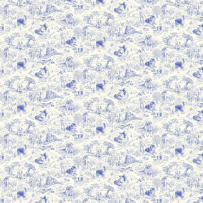 Country Dog Toile Blue Small